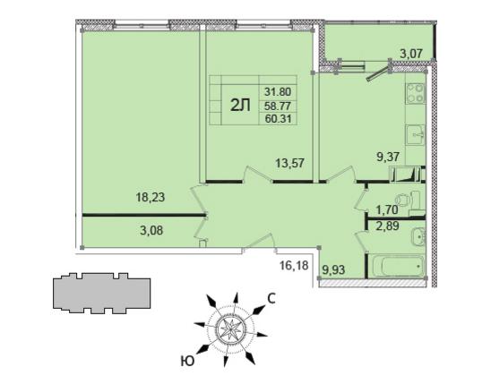 Планировка Двухкомнатная квартира площадью 58 кв.м в ЖК «Янинский каскад - 5»