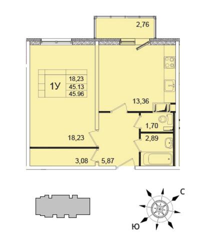 Планировка Однокомнатная квартира площадью 45 кв.м в ЖК «Янинский каскад - 5»