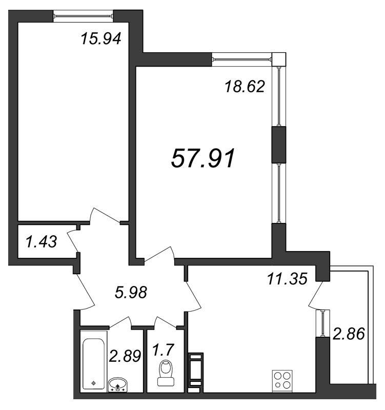 Планировка Двухкомнатная квартира площадью 57.91 кв.м в ЖК «Янинский каскад»