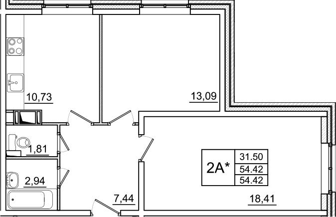 Планировка Двухкомнатная квартира площадью 54.42 кв.м в ЖК «Янинский каскад»