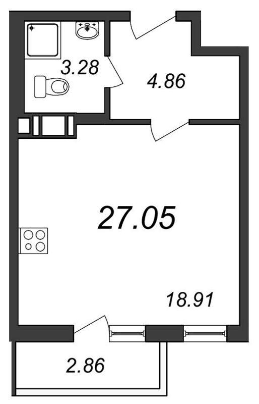 Планировка Студия площадью 27.05 кв.м в ЖК «Янинский каскад»