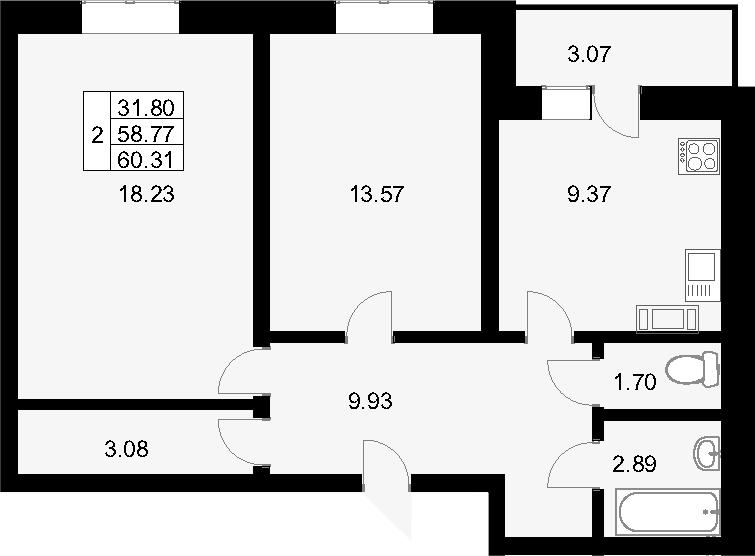Планировка Двухкомнатная квартира площадью 61.84 кв.м в ЖК «Янинский каскад»