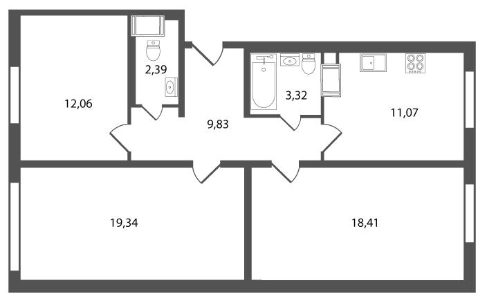 Планировка Трёхкомнатная квартира площадью 75.62 кв.м в ЖК «Янинский каскад»