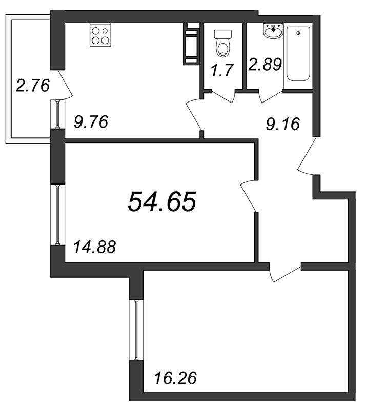 Планировка Двухкомнатная квартира площадью 54.65 кв.м в ЖК «Янинский каскад»