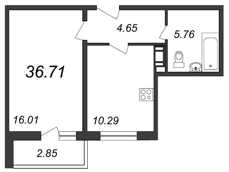 Планировка Однокомнатная квартира площадью 36.71 кв.м в ЖК «Янинский каскад»
