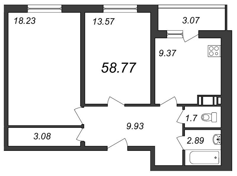 Планировка Двухкомнатная квартира площадью 58.77 кв.м в ЖК «Янинский каскад»