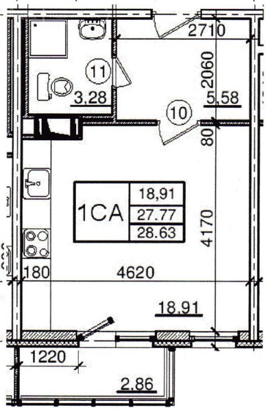 Планировка Студия площадью 27 кв.м в ЖК «Янинский каскад - 5»
